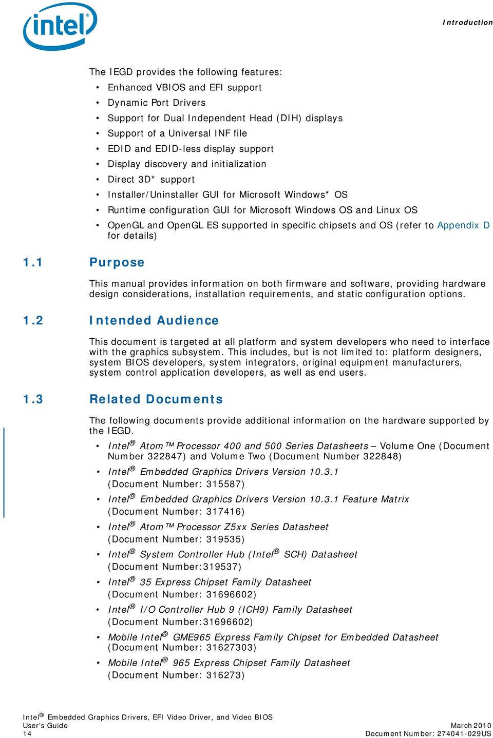 Intel Embedded Graphics Drivers, EFI Video Driver, and Video