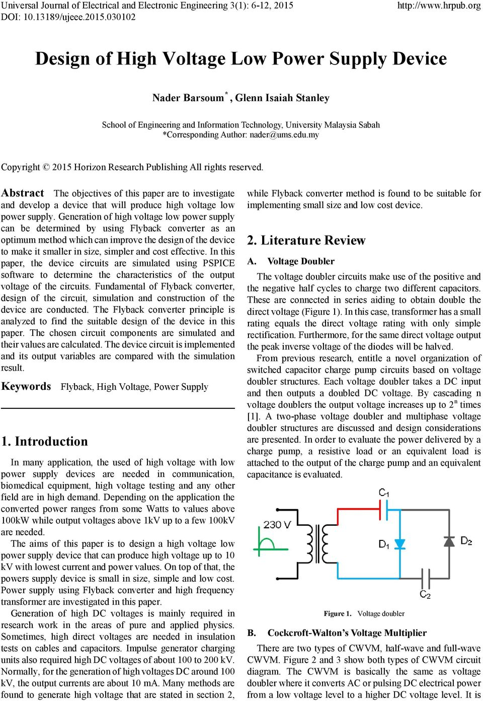 Design Of High Voltage Low Power Supply Device Pdf Comparison Between Half Wave And Full Doublers Edumy Copyright 2015 Horizon Research Publishing All Rights Reserved Abstract The Objectives