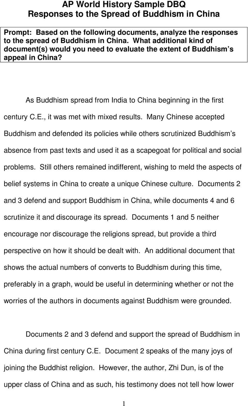 Essay buddhism in china dbq how to write an interview for a newspaper article