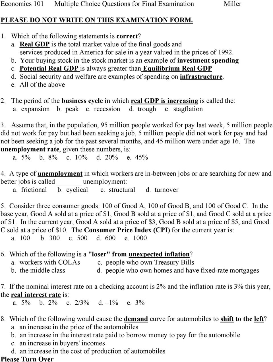 microeconomics multiple choice questions and answers doc