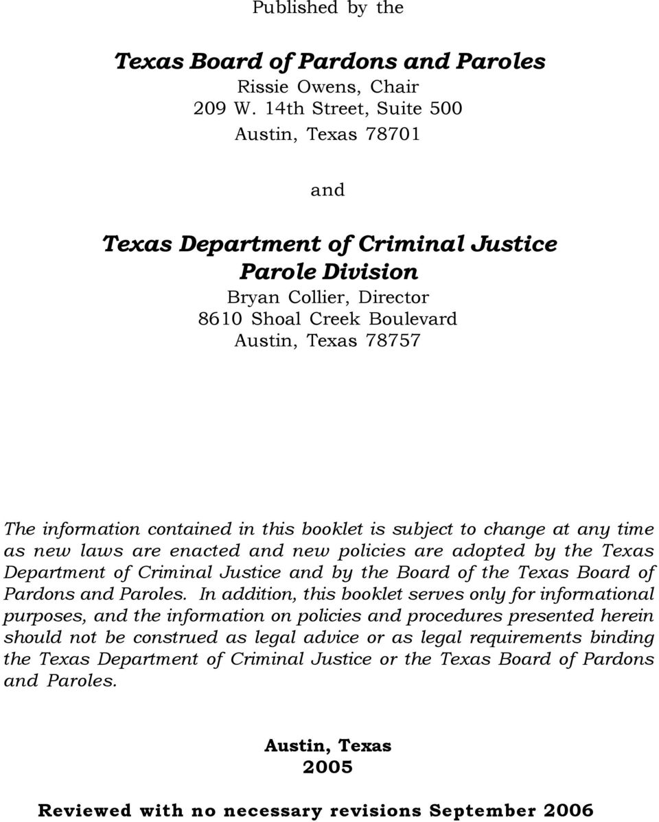 PAROLE IN TEXAS  Answers to Common Questions  Texas