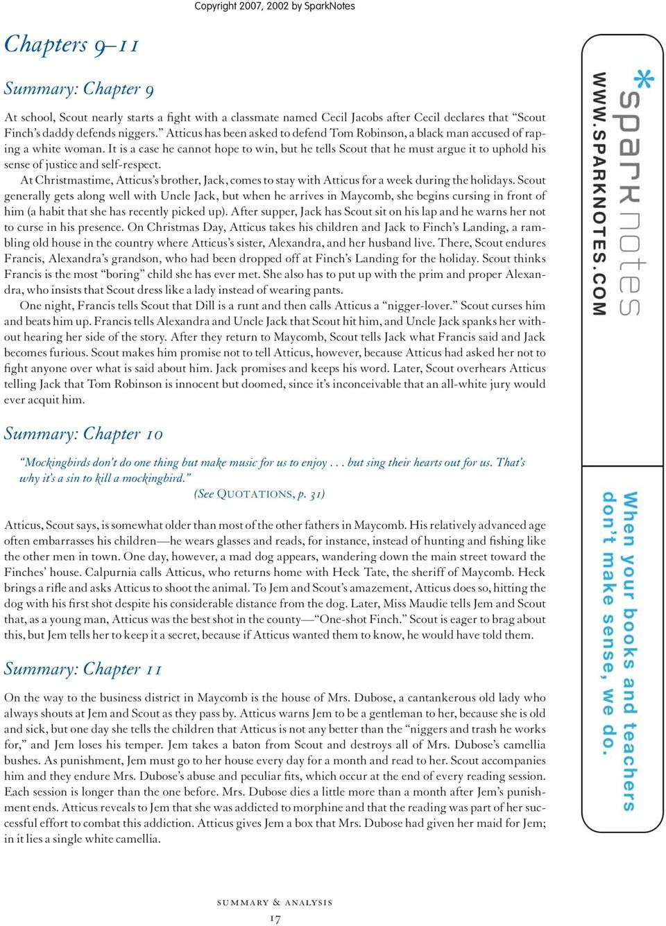 to kill a mockingbird chapter 12 sparknotes
