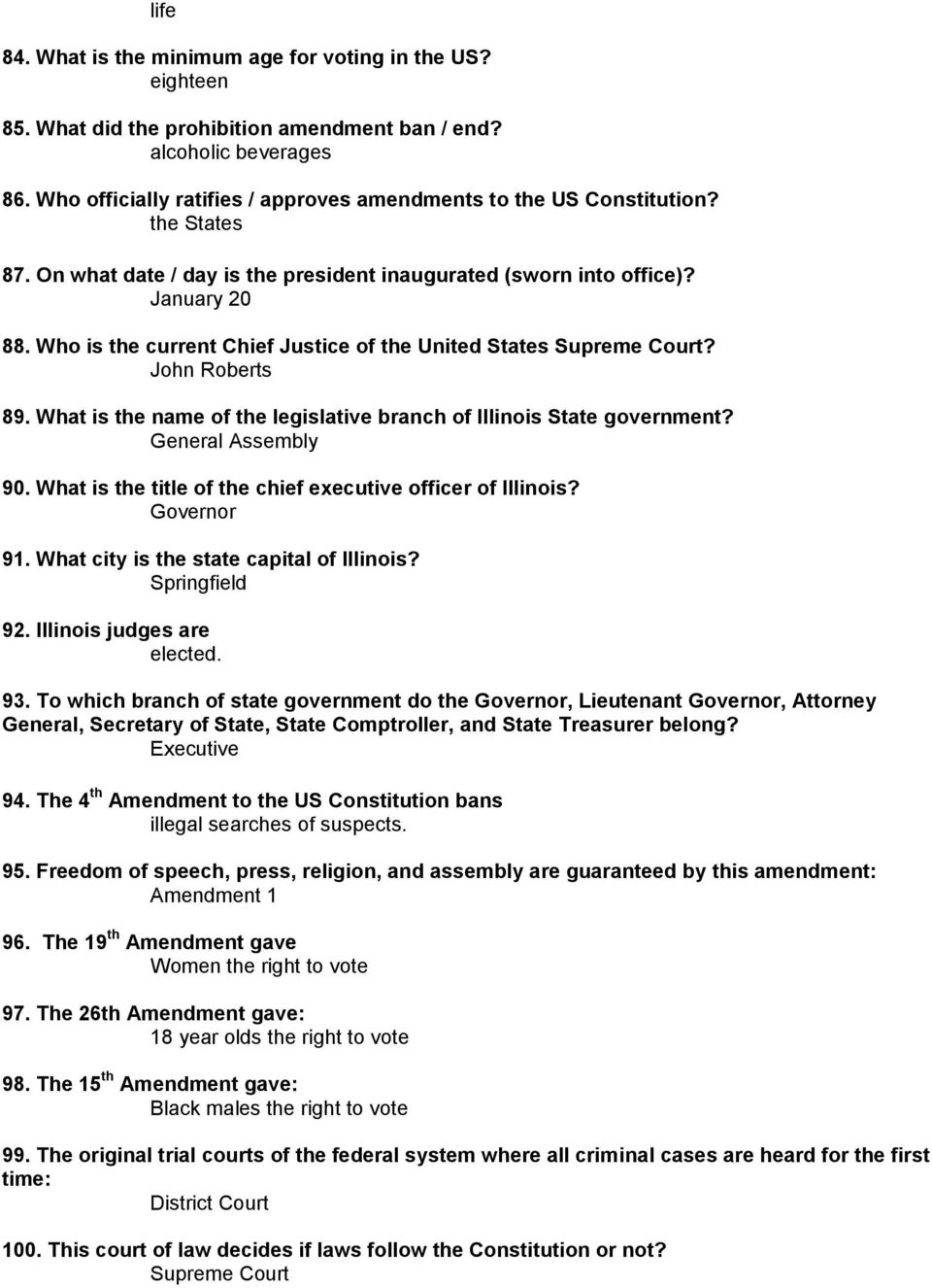 Crete-Monee Middle School U S  Constitution Test Study Guide