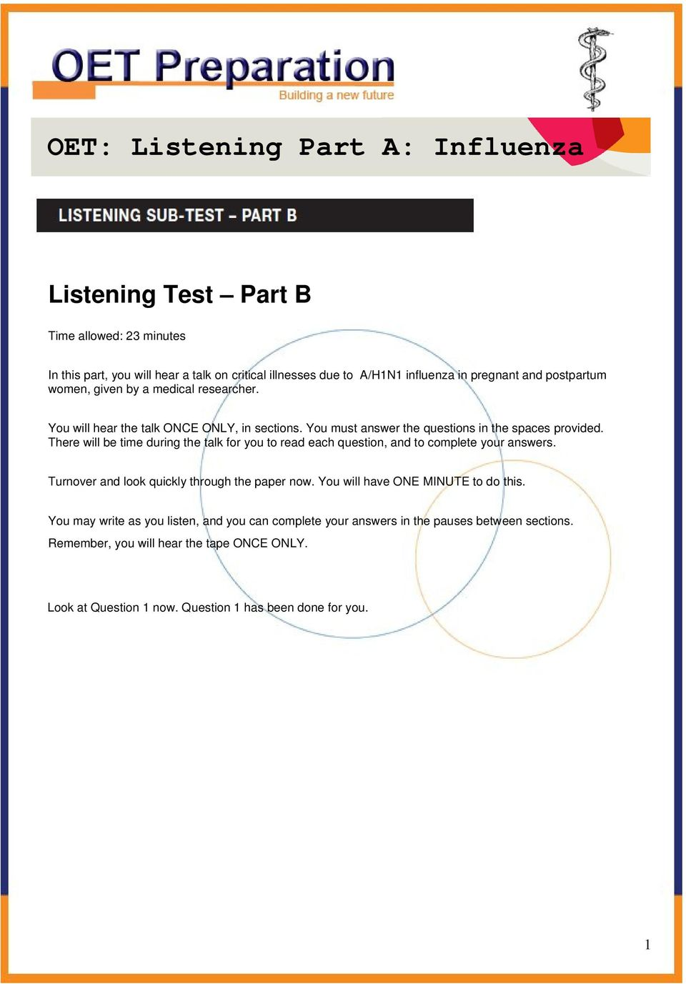 OET: Listening Part A: Influenza - PDF