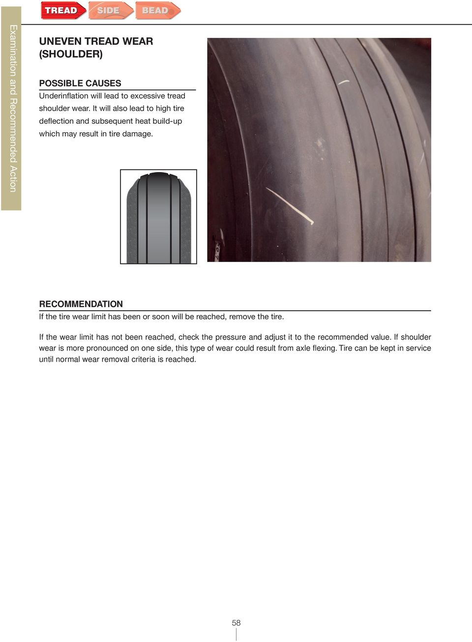 If the tire wear limit has been or soon will be reached, remove the tire
