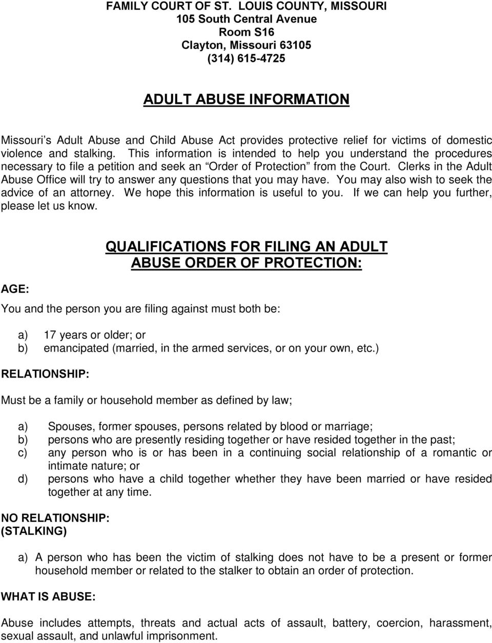 ADULT ABUSE INFORMATION QUALIFICATIONS FOR FILING AN ADULT