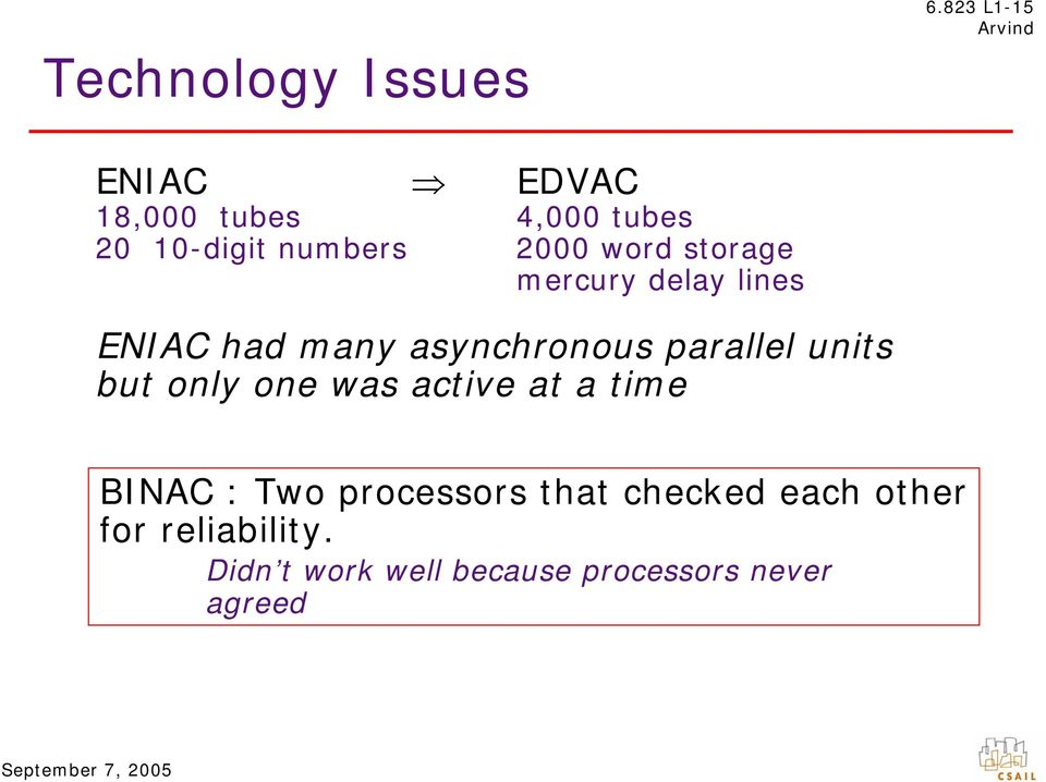 storage mercury delay lines ENIAC had many asynchronous parallel units but