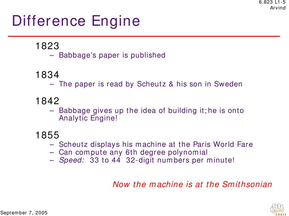 Sweden 1842 Babbage gives up the idea of building it;he is onto Analytic Engine!
