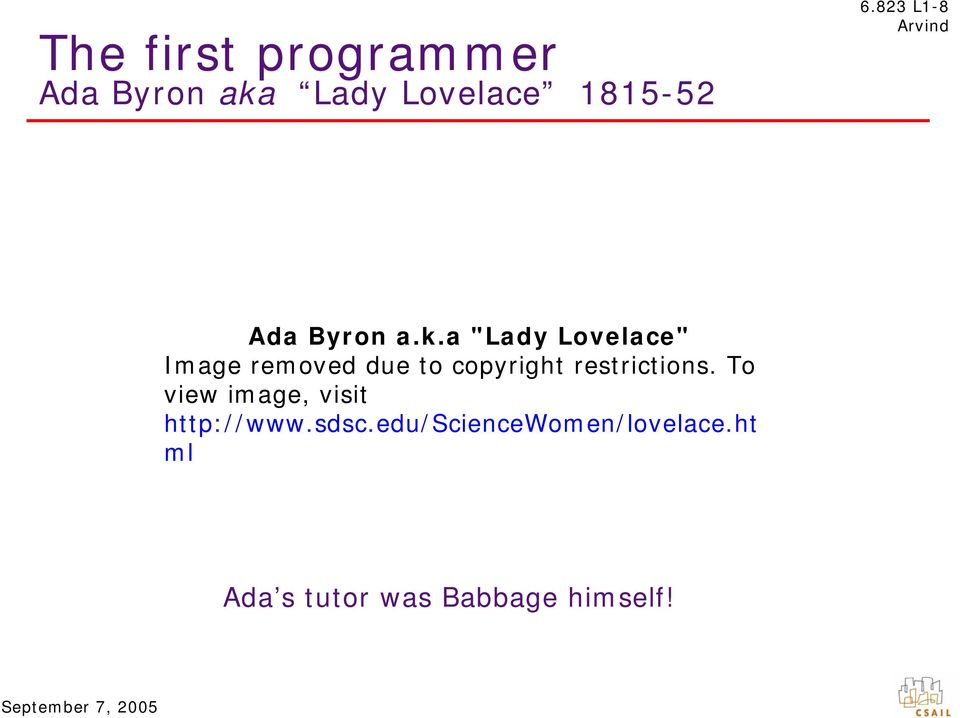"a ""Lady Lovelace"" Image removed due to copyright restrictions."