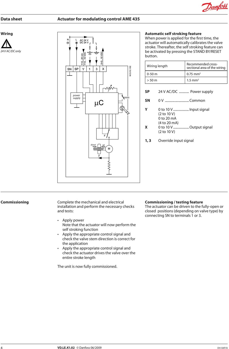 Actuator For Modulating Control Ame Pdf Wiring Diagram 5 Mm 2 Recommended Crosssectional Area Of The Power Supply Sp Sn Y X 24 V Manual Override Turn