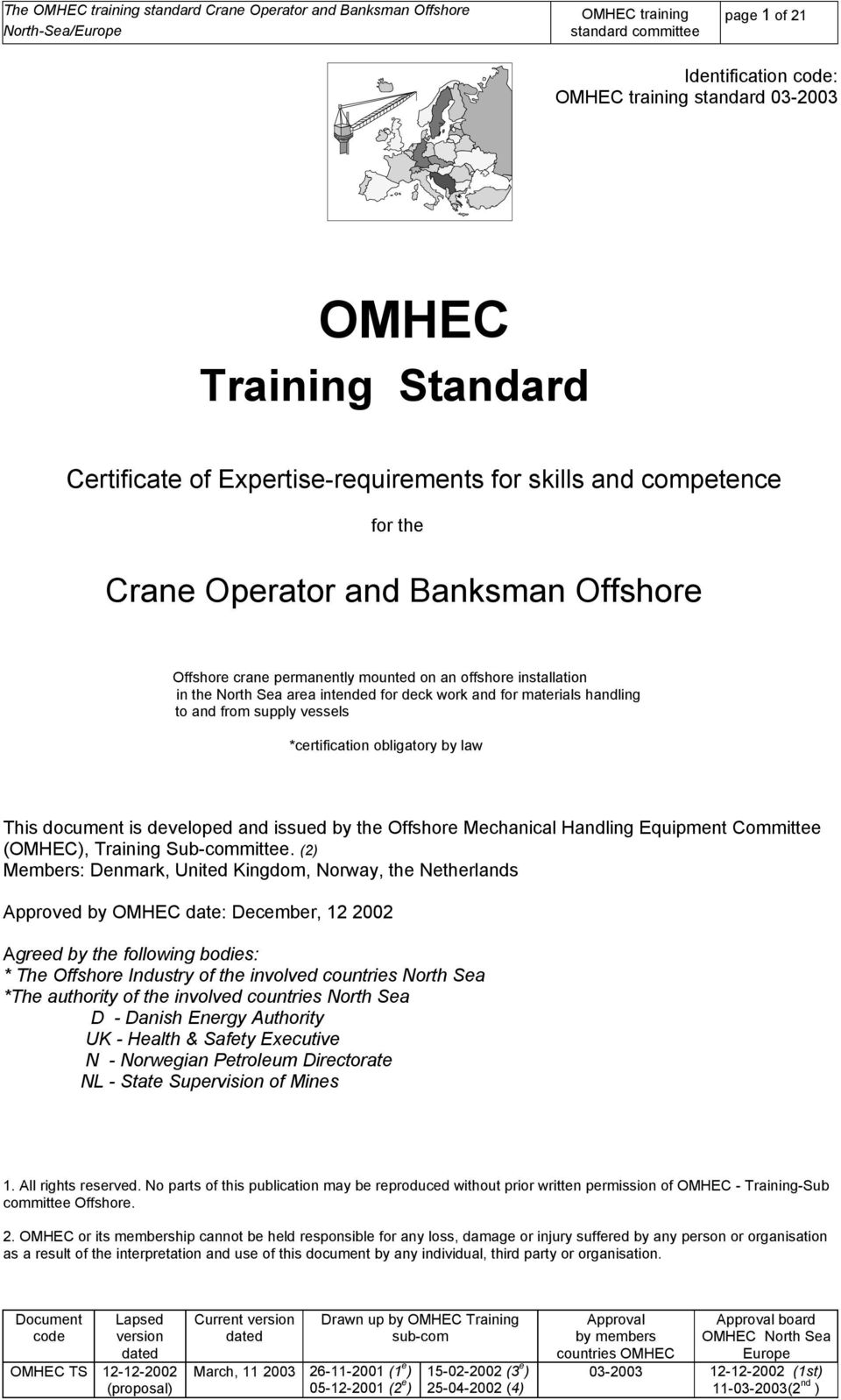 Certificate of Expertise-requirements for skills and