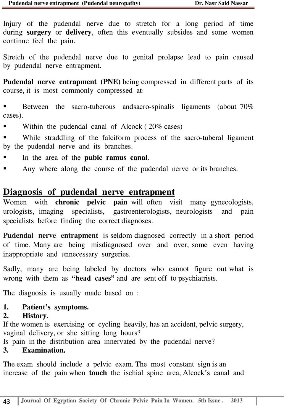 Pudendal Neuropathy Or Pudendal Nerve Entrapment Pne Pdf