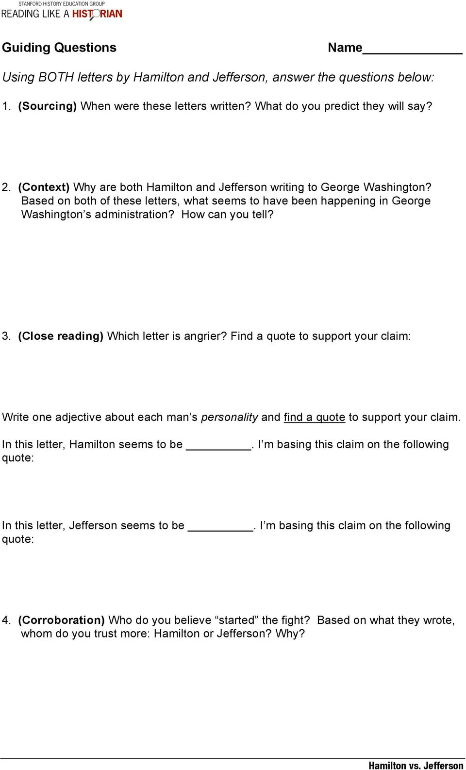hamilton vs jefferson lesson plan central historical question   close reading which letter is angrier find a quote to support
