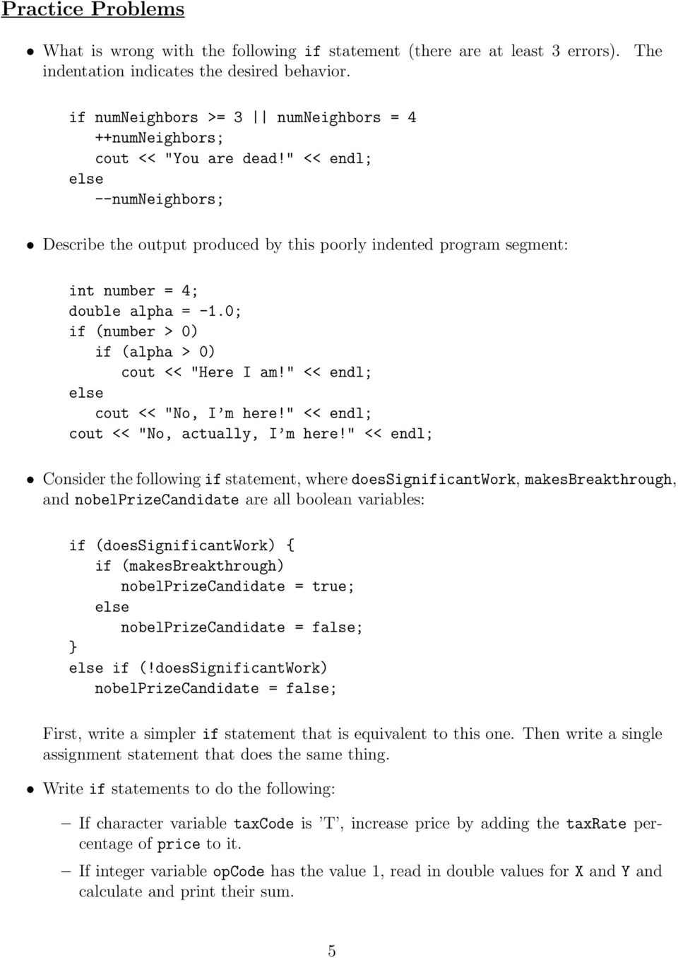 The if Statement and Practice Problems - PDF