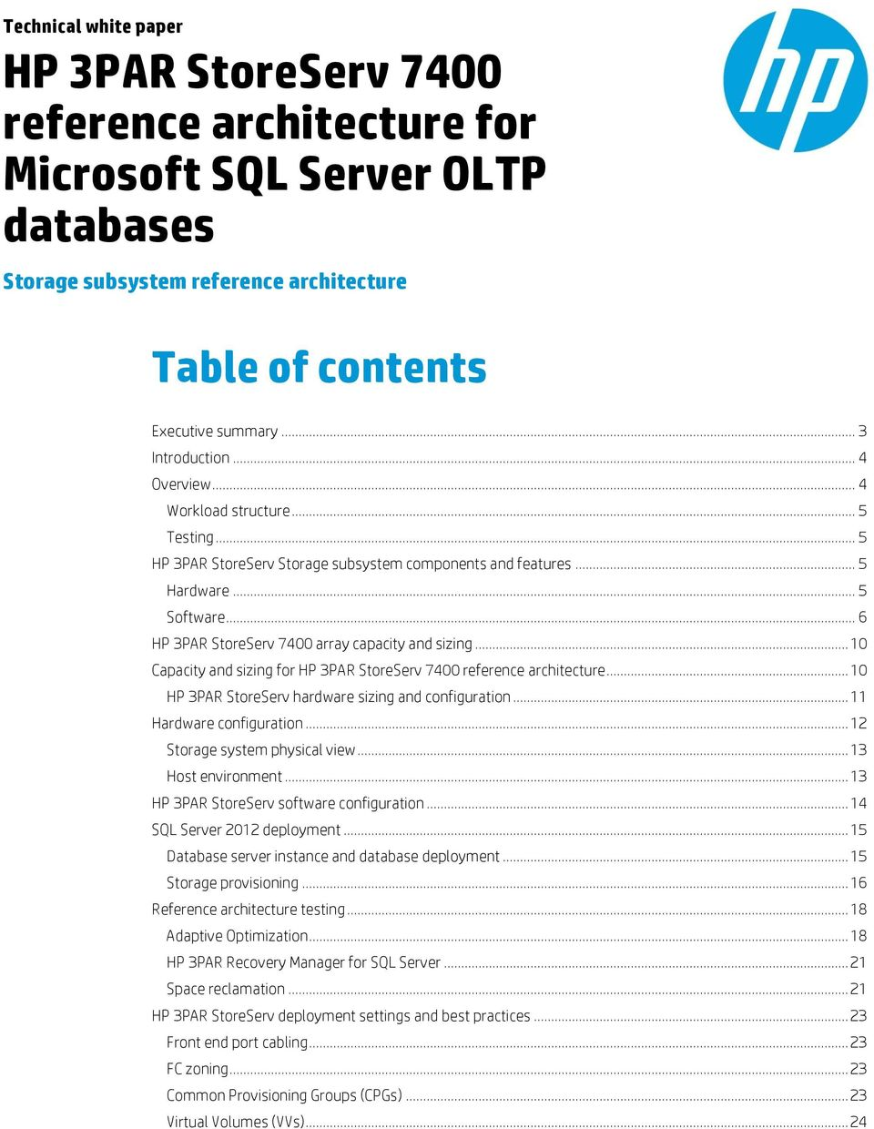 HP 3PAR StoreServ 7400 reference architecture for Microsoft