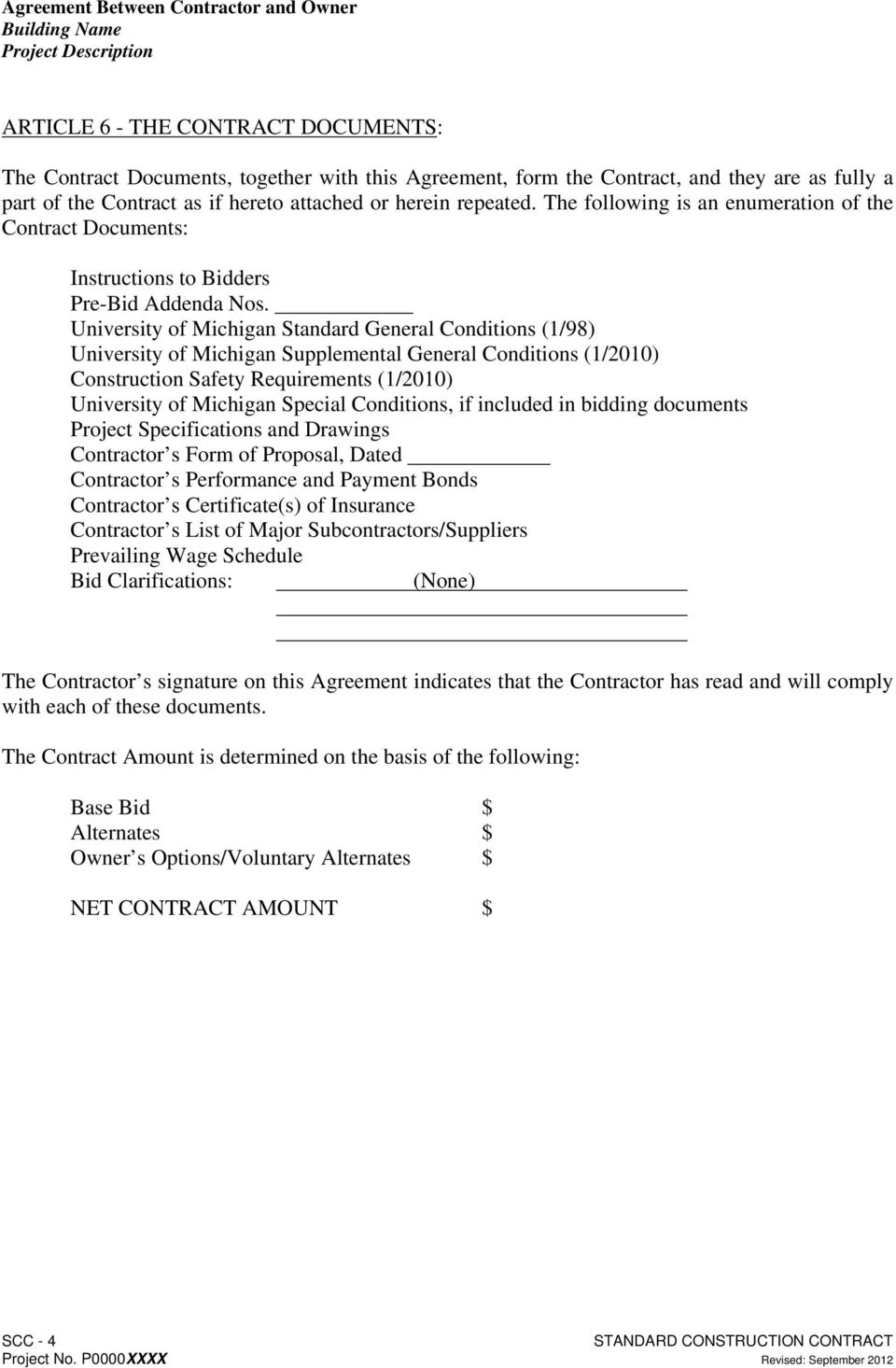 Agreement Between Contractor And Owner For Construction Pdf