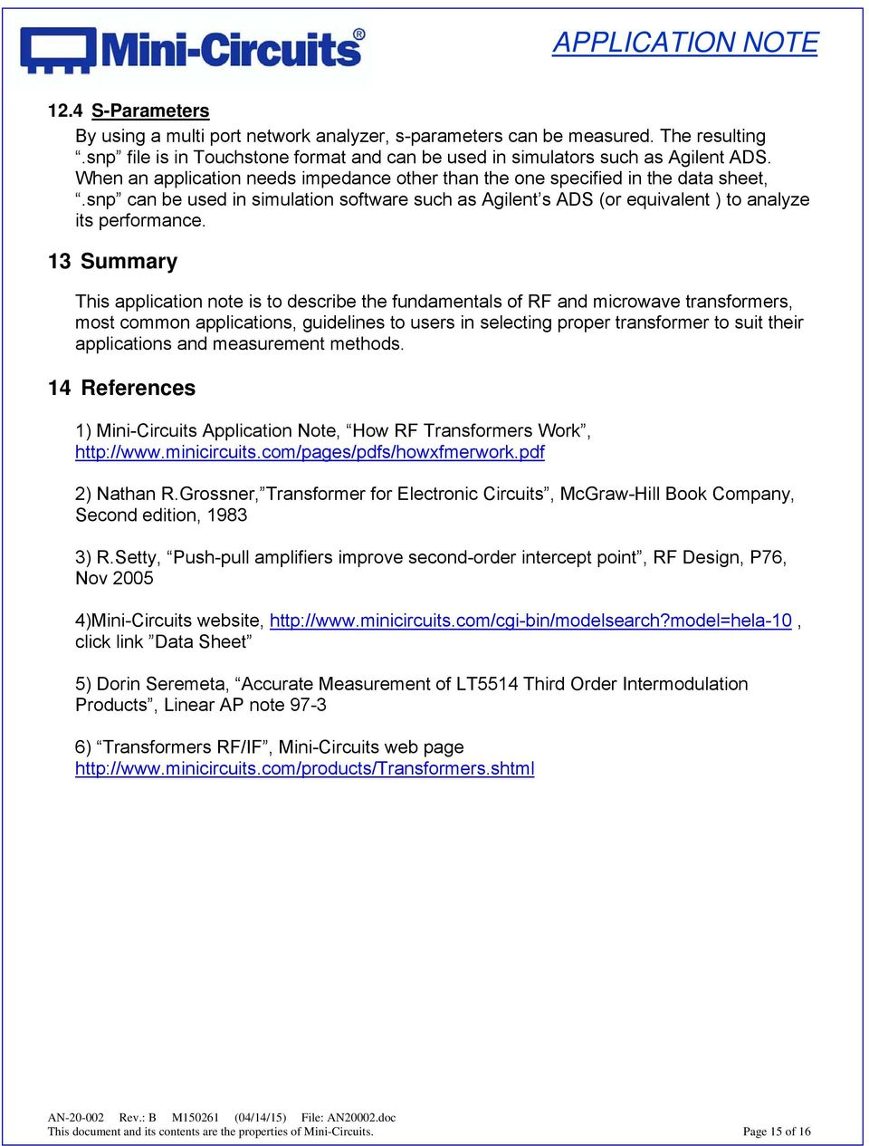Application Note On Transformers An Pdf Mini Circuit Amplifiers 13 Summary This Is To Describe The Fundamentals Of Rf And Microwave