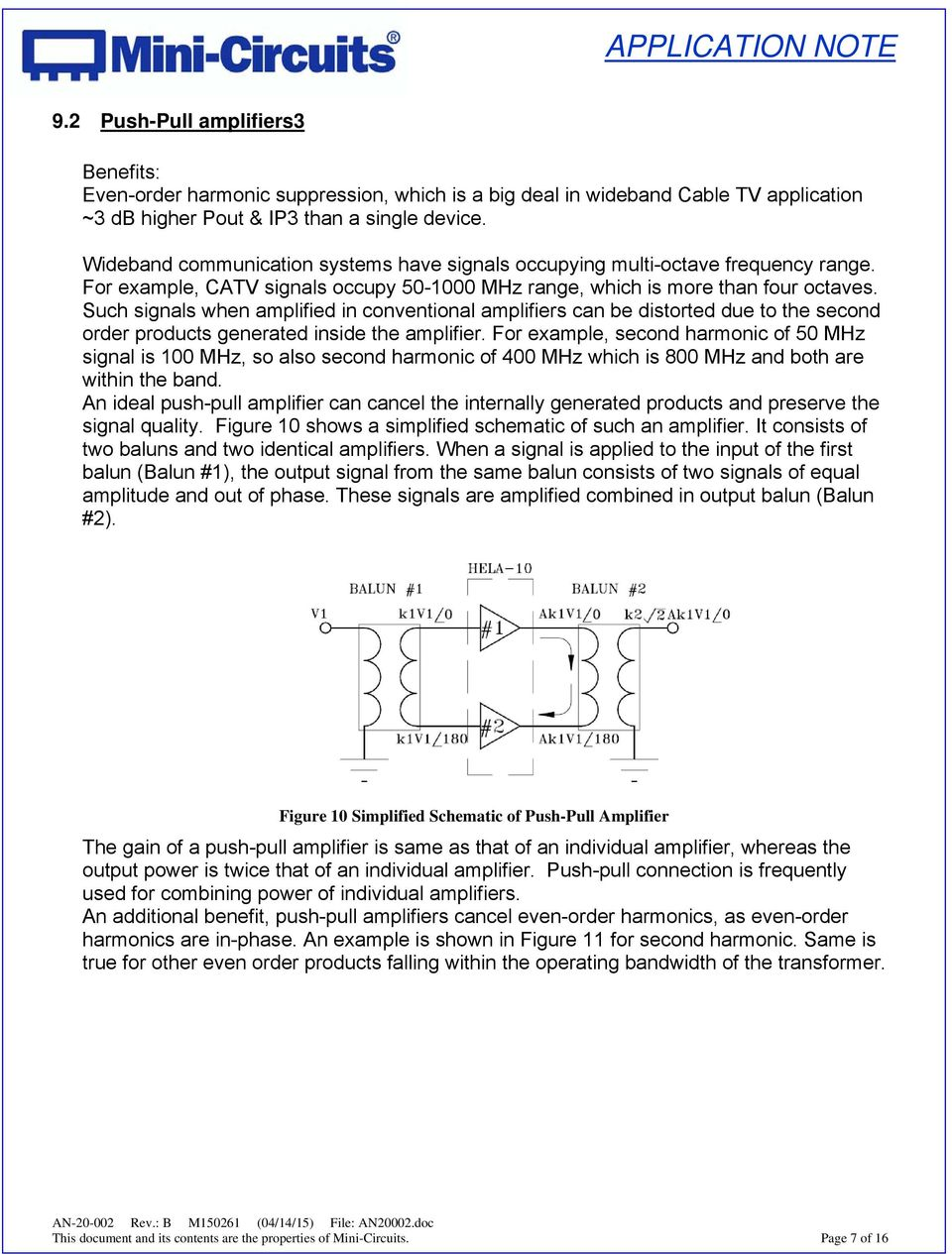 Application Note On Transformers An Pdf Mini Circuit Amplifiers Such Signals When Amplified In Conventional Can Be Distorted Due To The Second Order Products