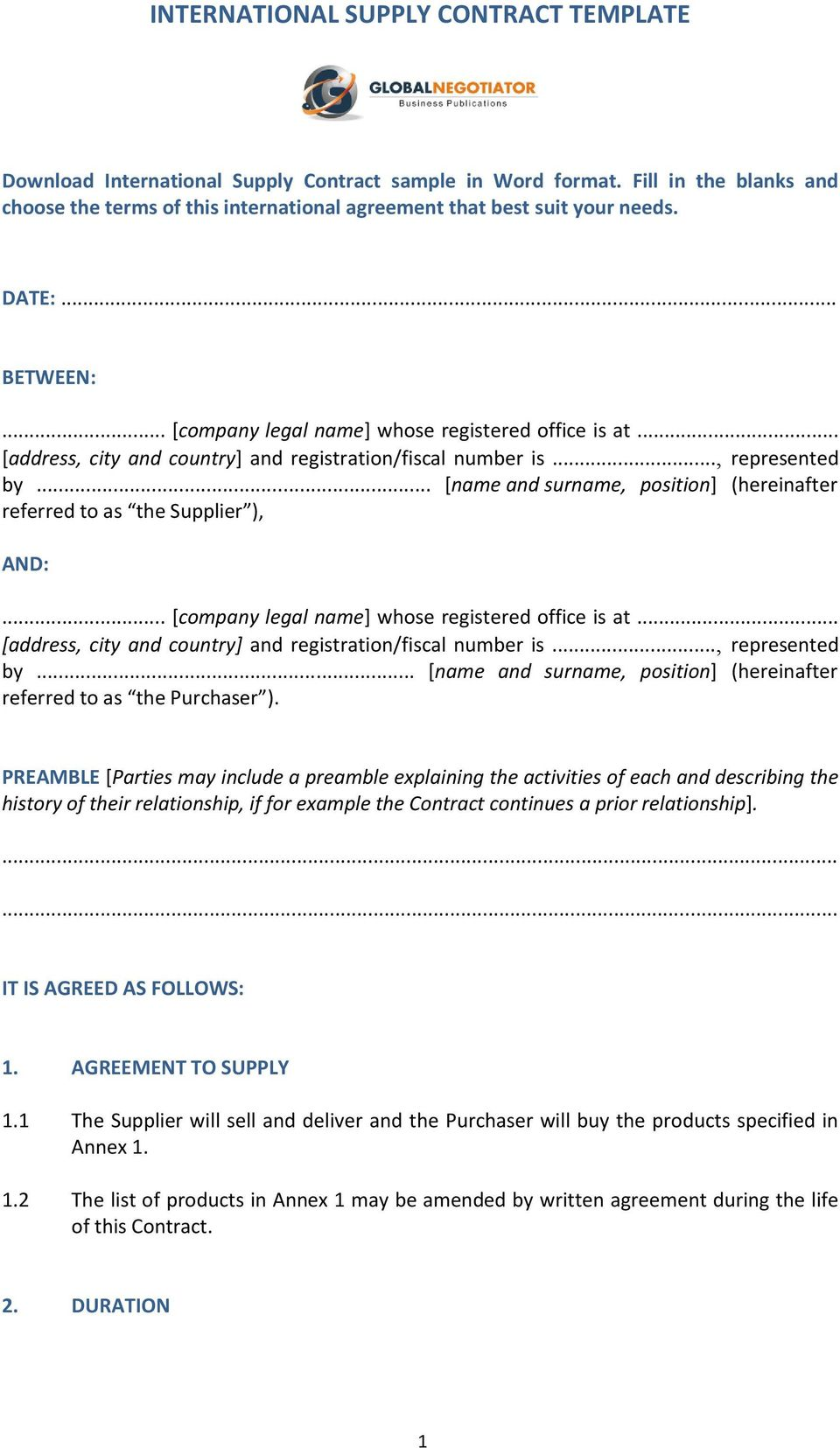 International Supply Contract Template Pdf