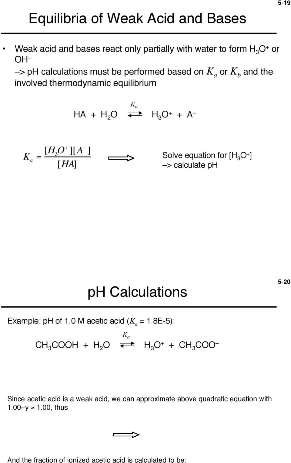 + ] > calculate ph ph Calculations 5-20 Example: ph of 1.0 M acetic acid ( = 1.