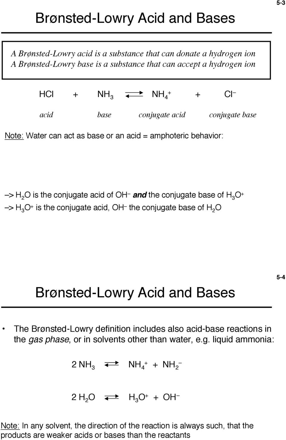 conjugate acid, OH the conjugate base of H 2 O Brønsted-Lowry Acid and Bases 5-4 The Brønsted-Lowry definition includes also acid-base reactions in the gas phase, or in solvents other than