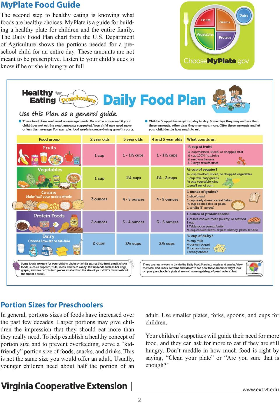 Listen to your child s cues to know if he or she is hungry or full. Portion Sizes for Preschoolers In general, portions sizes of foods have increased over the past few decades.