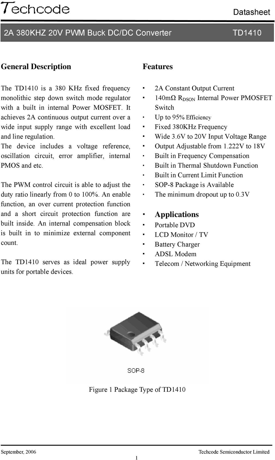 Datasheet 2a 380khz 20v Pwm Buck Dc Converter Features Pdf Of A Boost With External Mosfet For Short Circuit Protection The Device Includes Voltage Reference Oscillation Error Amplifier Internal Pmos And