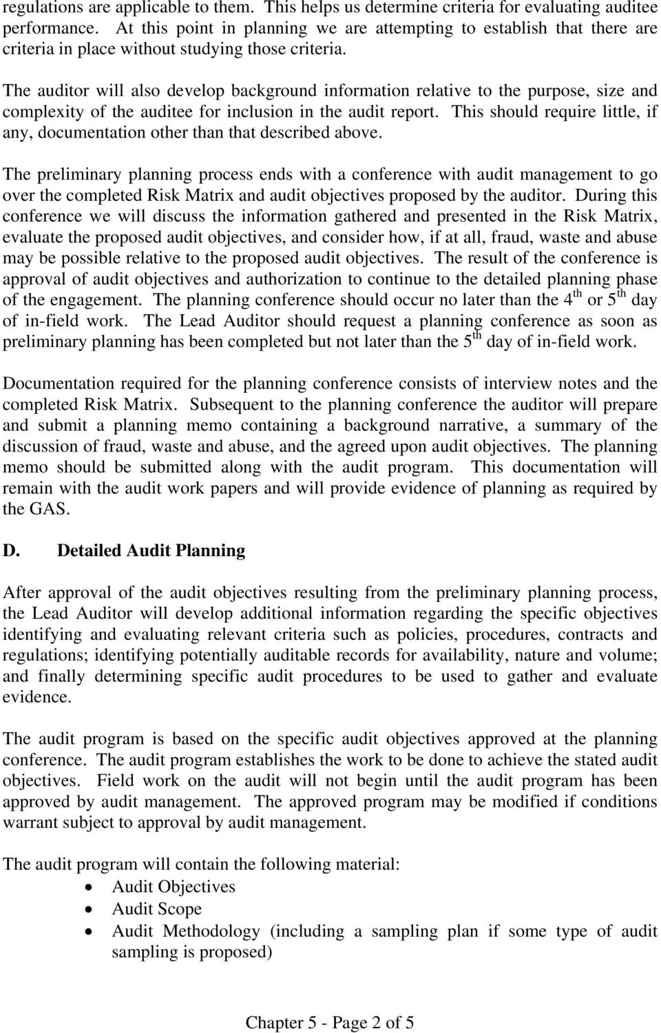 Chapter 5  Planning the Audit Engagement - PDF