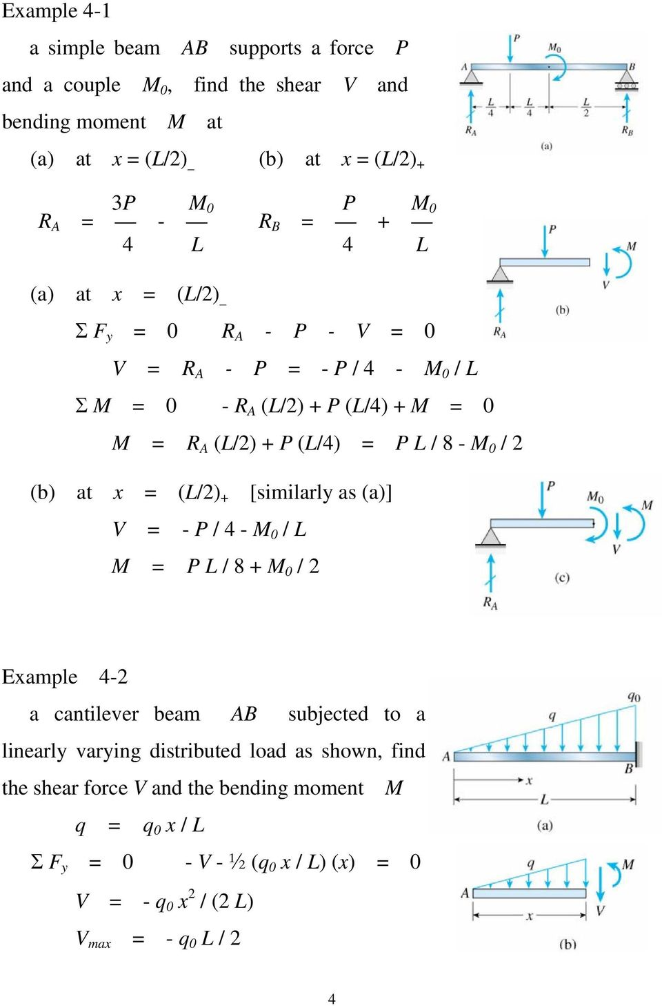Shear Forces And Bending Moments Pdf Draw Force Moment Diagrams For The Overhanging Beam L 8 M 0 2 B At X
