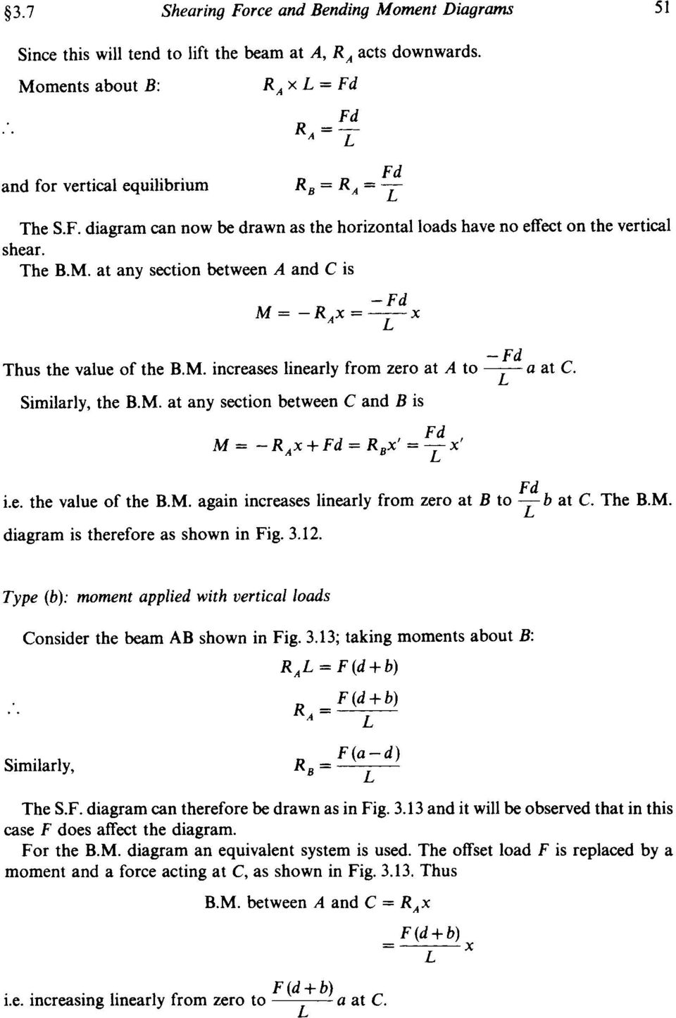 Chapter 3 Shearing Force And Bending Moment Diagrams Summary Pdf Diagram Under Horizontal Loading M Increases Linearly From Zero At A To C L Similarly