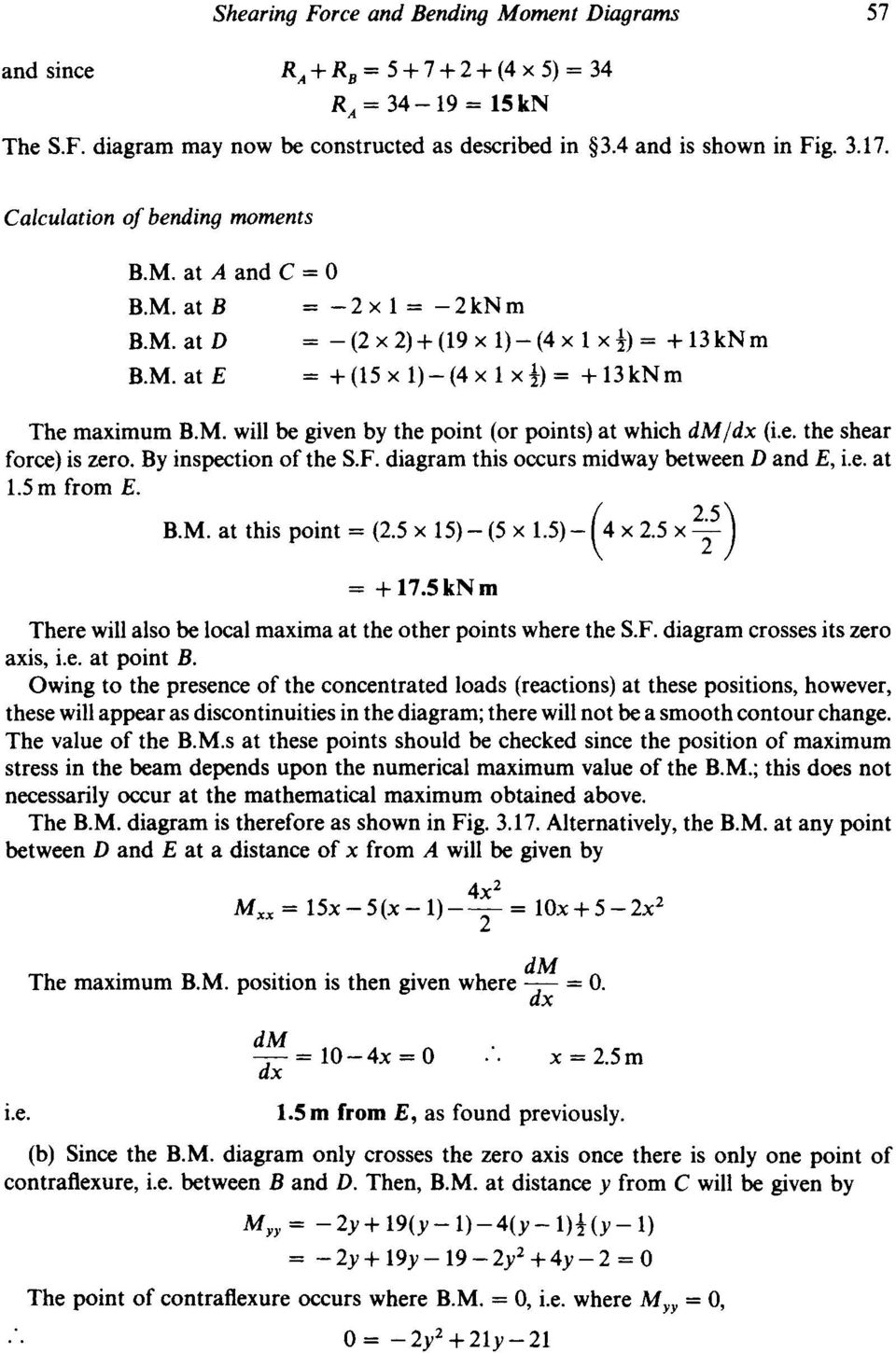 Chapter 3 Shearing Force And Bending Moment Diagrams Summary Pdf Text Draw The Shear Bendingmoment For Beam Is Zero By Inspection Of Sf Diagram This Occurs Midway