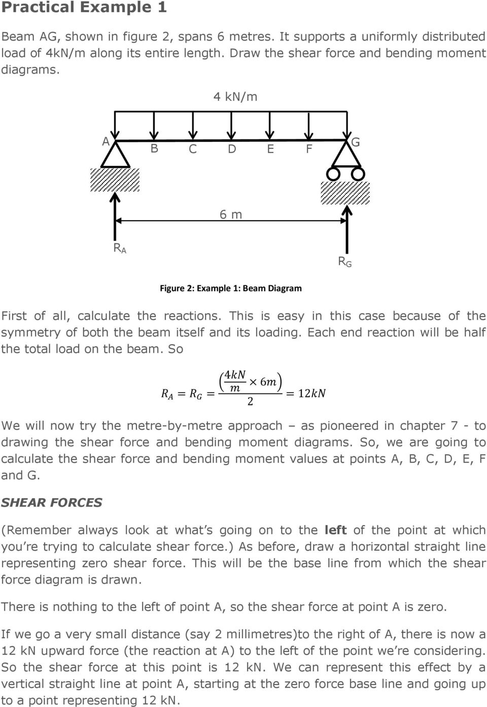 Chapter 8 Shear Force And Bending Moment Diagrams For Uniformly Beam Formulas With Each End Reaction Will Be Half The Total Load On So