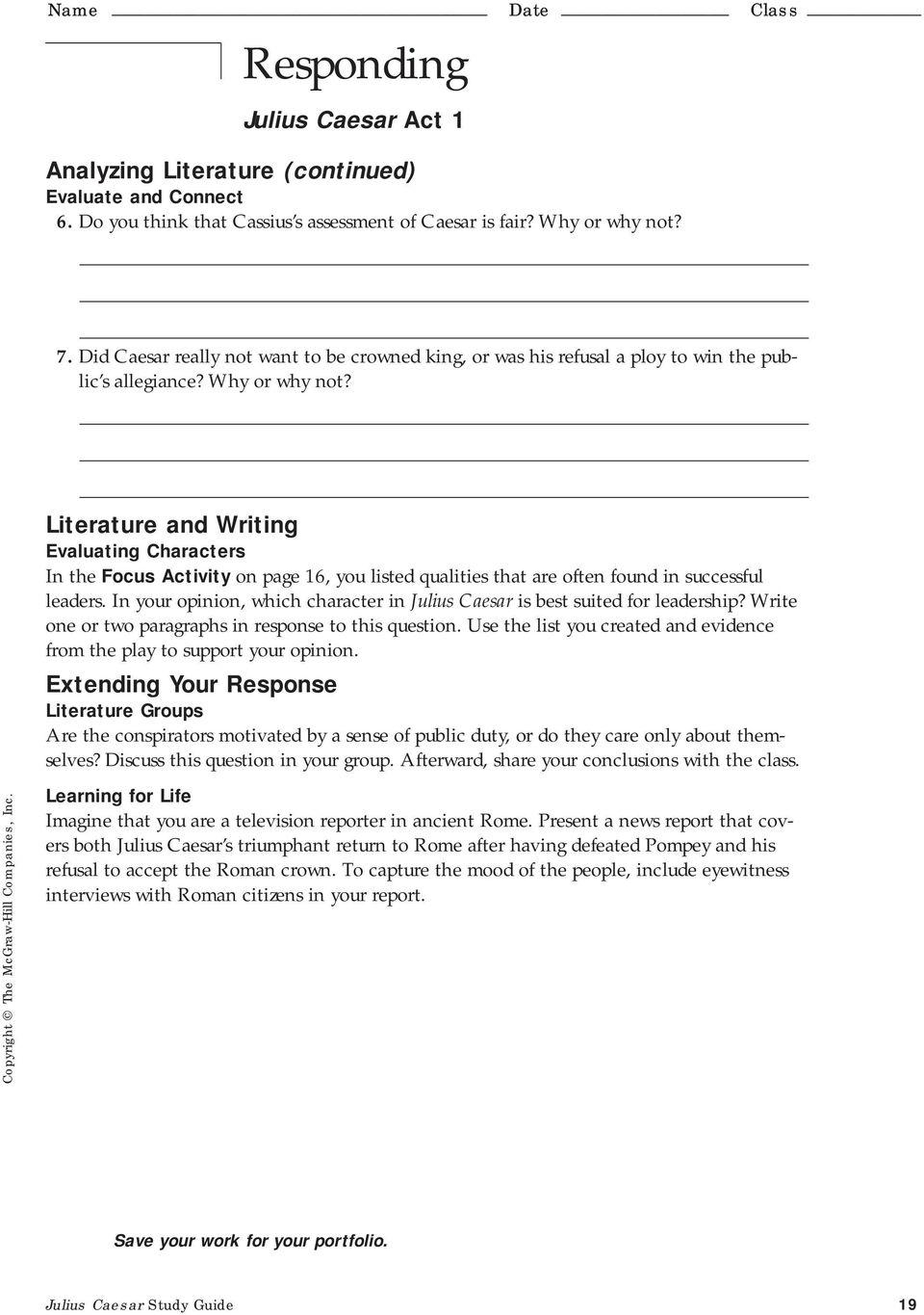 Julius Caesar Study Guide 19. Literature and Writing Evaluating Characters  In the Focus Activity on page 16, you listed qualities