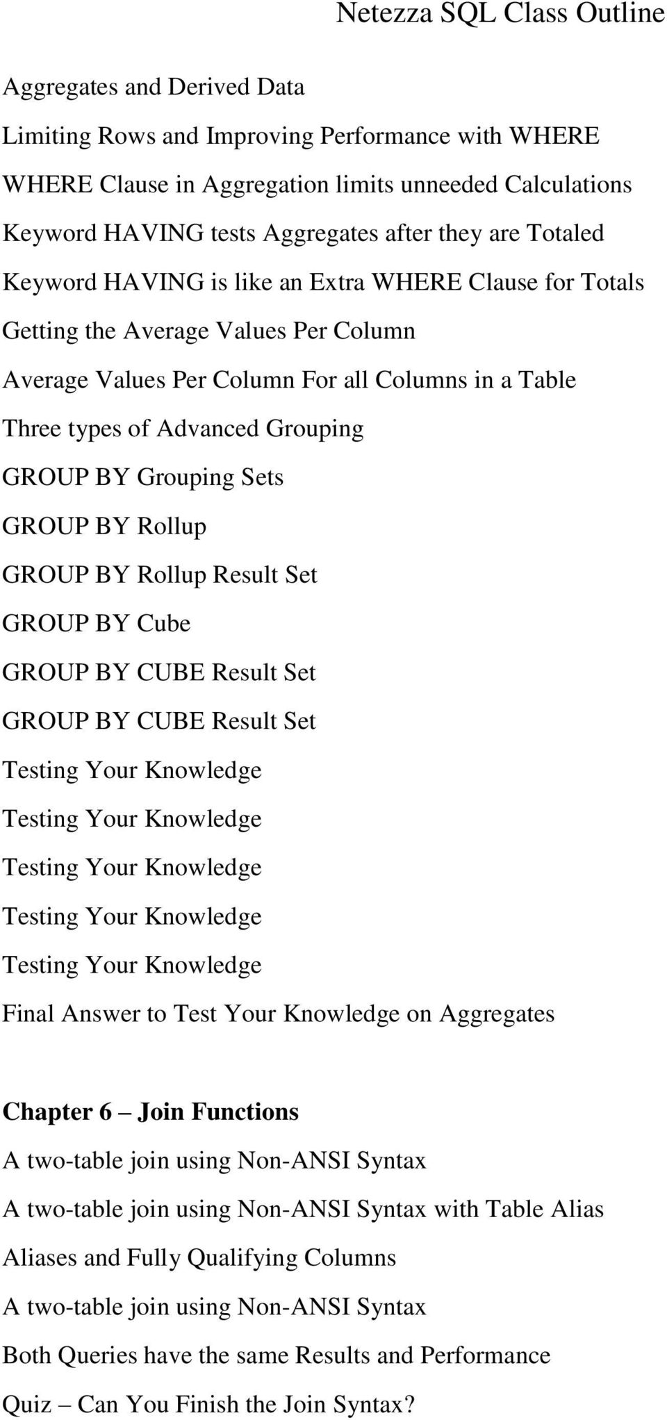 GROUP BY Rollup GROUP BY Rollup Result Set GROUP BY Cube GROUP BY CUBE Result Set GROUP BY CUBE Result Set Testing Your Knowledge Testing Your Knowledge Testing Your Knowledge Testing Your Knowledge