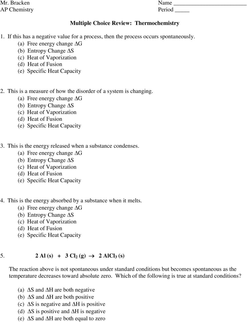 Mr Bracken Multiple Choice Review Thermochemistry Pdf