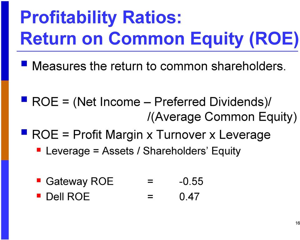 ROE = (Net Income Preferred Dividends)/ /(Average Common Equity) ROE =