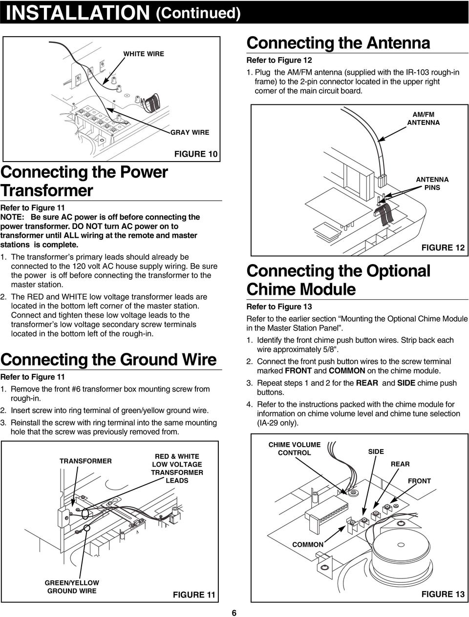 Radio Intercom System Pdf Volume Control Wiring Diagram For Nutone Wall Gray Wire Am Fm Antenna Connecting The Power Transformer Refer To Figure 11 Note