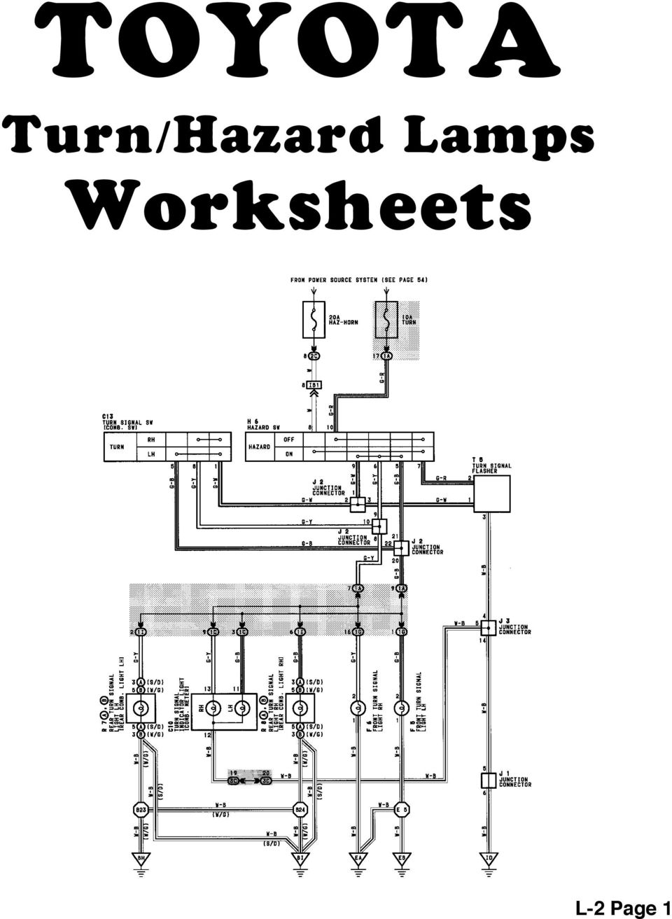 Body Electrical Toyota Wiring Diagram Workbook Here Is A Wire For The Turn Signals And Hazard Lights 16 Signal Lamps Reference L 2 Page