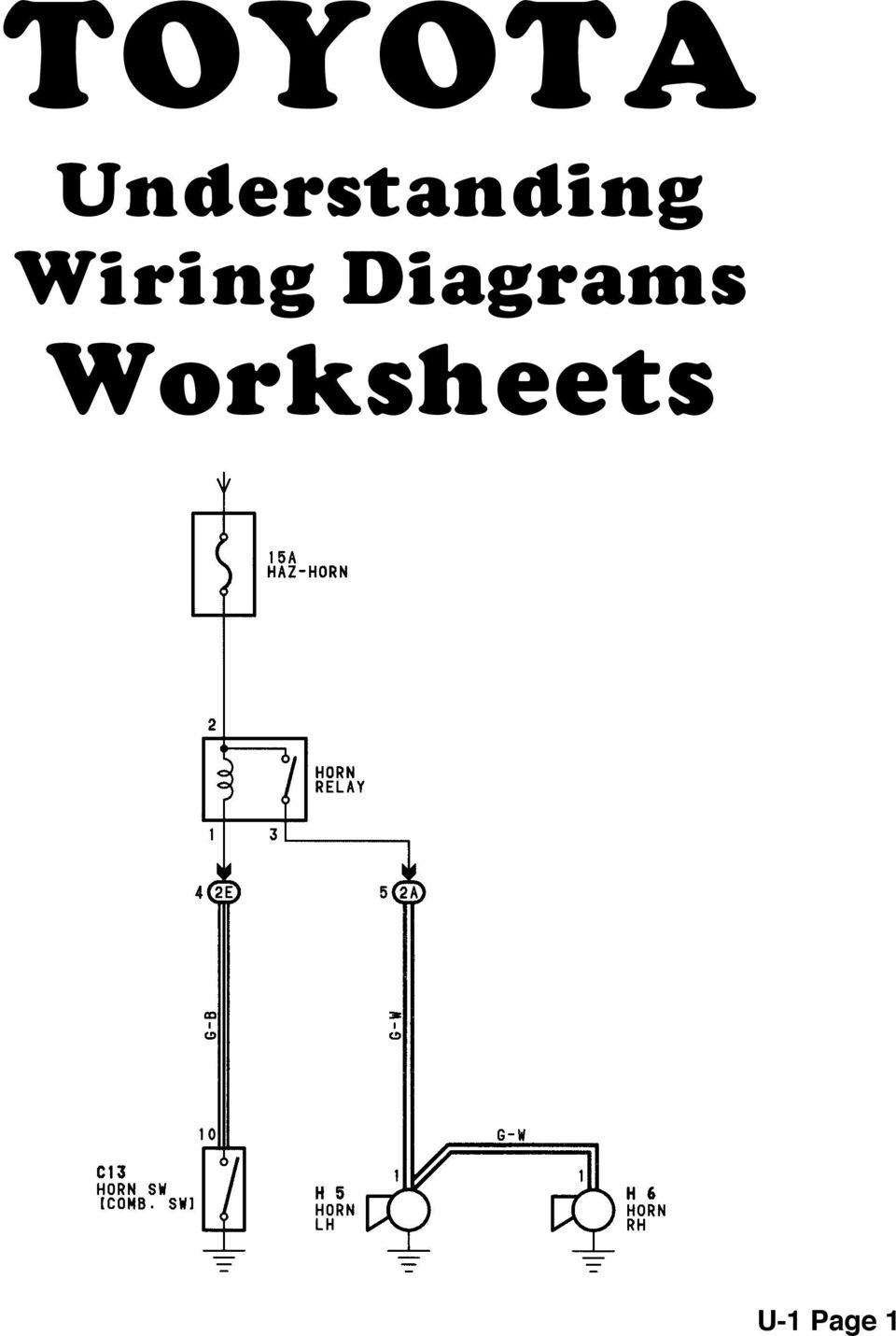 body electrical toyota electrical wiring diagram workbook  assignment version 1 8 worksheets
