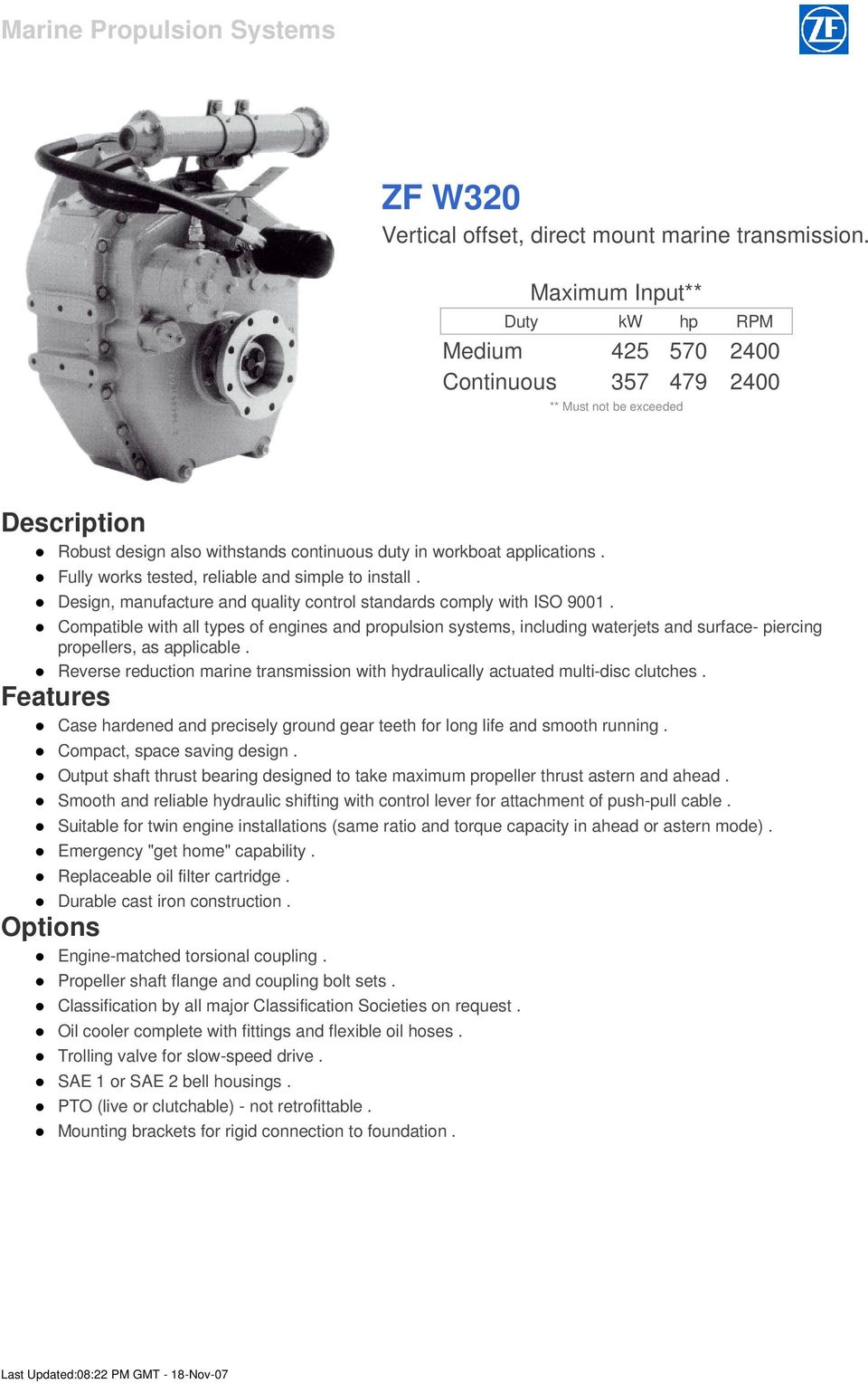 ZF W320 Vertical offset, direct mount marine transmission  - PDF