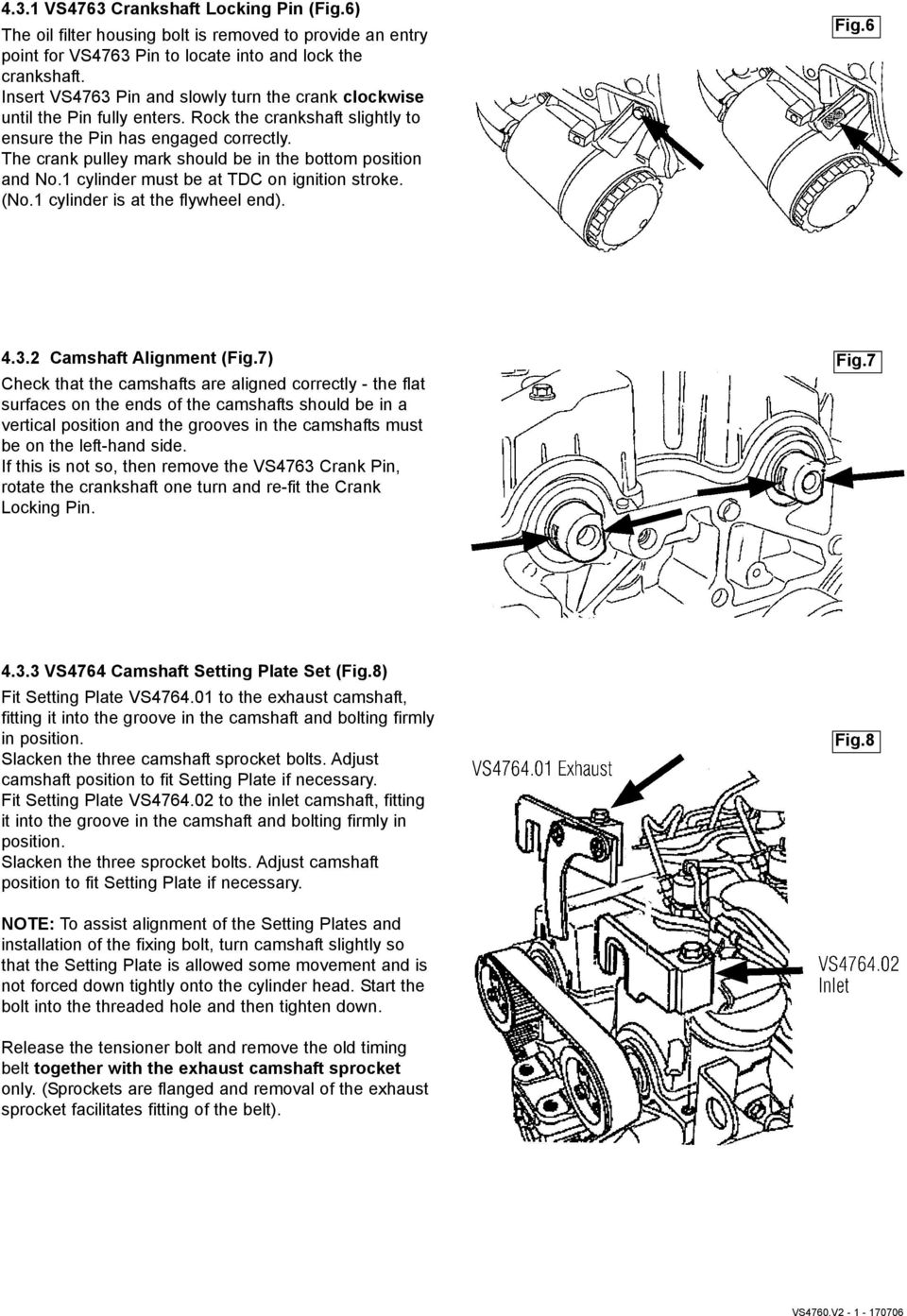 Vs4760v2 Instructions For Diesel Engine Setting Locking Tool Kit Subaru 2 Timing Diagram The Crank Pulley Mark Should Be In Bottom Position And No1 Cylinder Must
