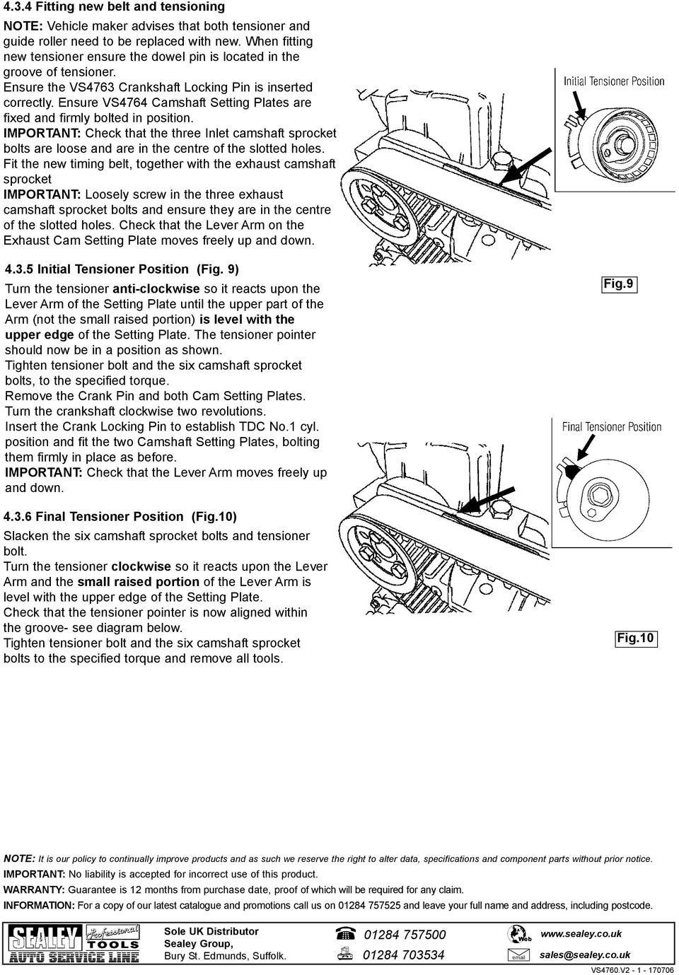 Vs4760v2 Instructions For Diesel Engine Setting Locking Tool Kit Lexus 1uz Wiring Diagram Ensure Vs4764 Camshaft Plates Are Fixed And Firmly Bolted In Position Important Check