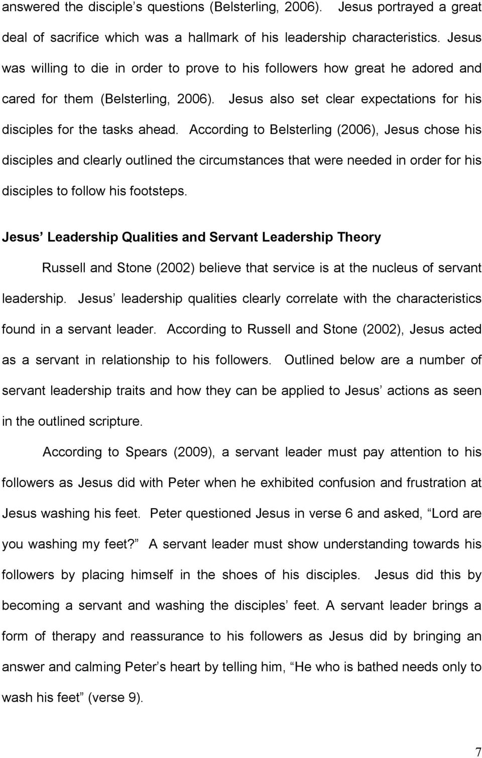 Jesus, the Originator of Servant Leadership  A Narrational Texture