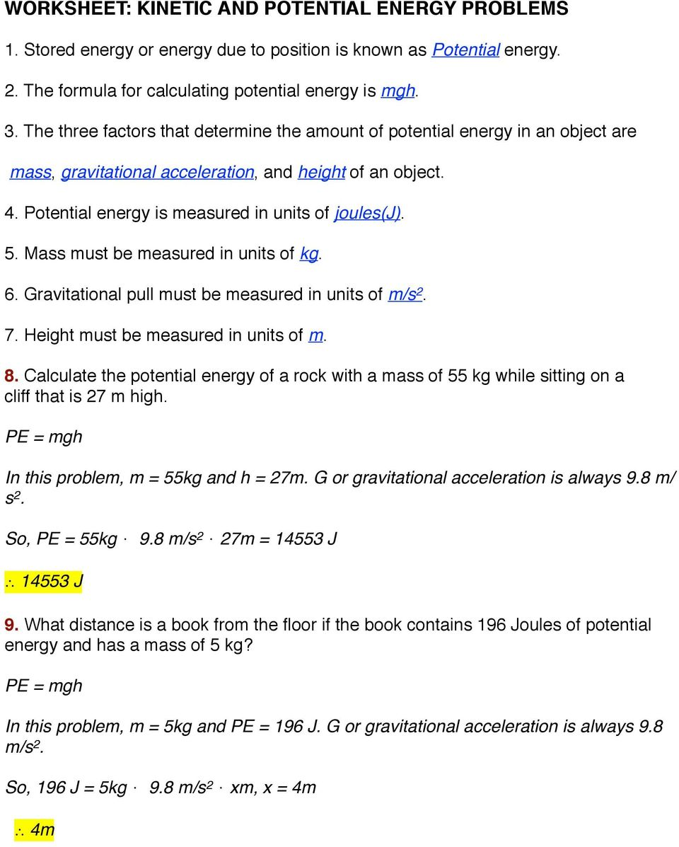 WORKSHEET: KINETIC AND POTENTIAL ENERGY PROBLEMS - PDF