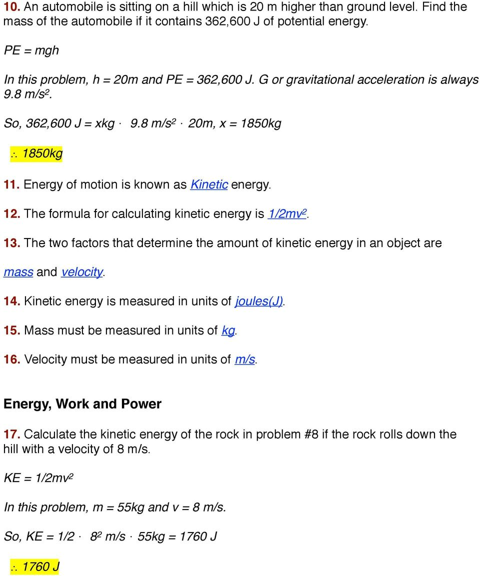 WORKSHEET: KINETIC AND POTENTIAL ENERGY PROBLEMS - PDF Free ...