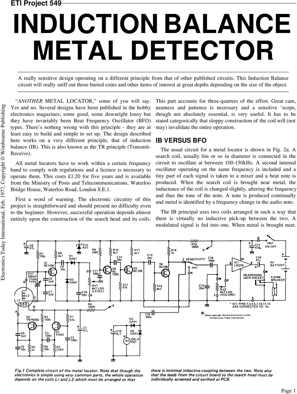 Eti Project 549 Induction Balance Metal Detector Pdf Single Chip Circuit Electronic Circuits And Diagram 1977 Copyright Wimbourne Publishing Another Locator Some Of You Will Say Yes