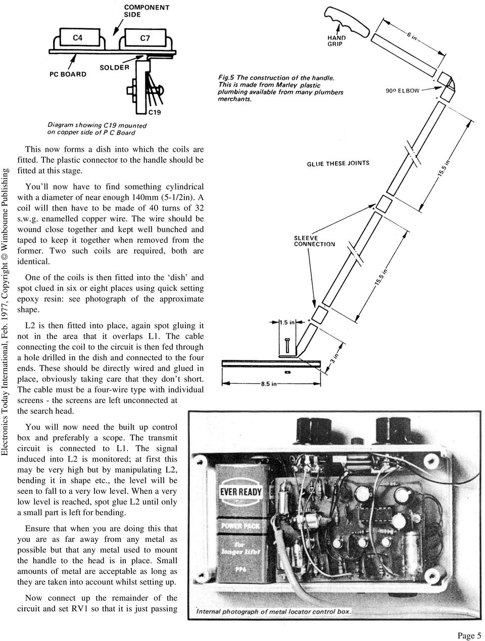 Eti Project 549 Induction Balance Metal Detector Pdf Door Phone Intercom Circuit Using Lm386 Eleccircuitcom The Wire Should Be Wound Close Together And Kept Well Bunched Taped To Keep It