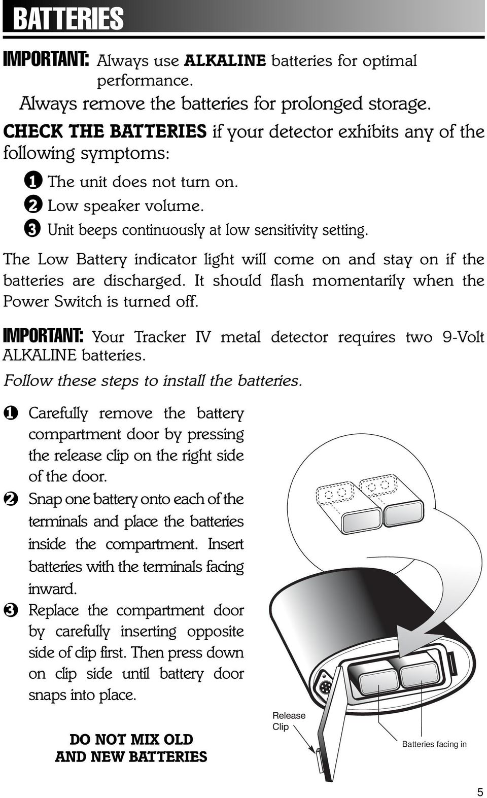 Owner S Manual Important Facts To Know About Your Metal Detector Pdf Simple Circuit Bfo The Low Battery Indicator Light Will Come On And Stay If Batteries Are Discharged
