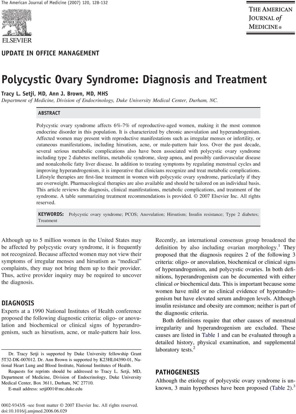Polycystic Ovary Syndrome: Diagnosis and Treatment - PDF