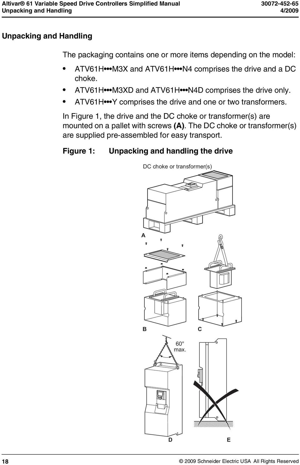 ATV61H Y comprises the drive and one or two transformers. In Figure 1, the.  19 Altivar 61 ...